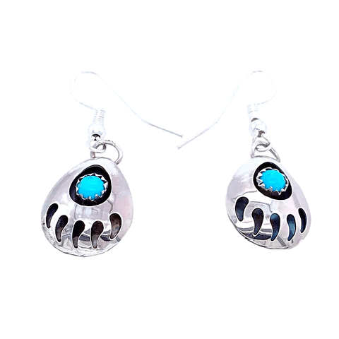 Image of Native American Earrings - Navajo Bear Paw Sterling Silver Earrings J. Spencer -Small