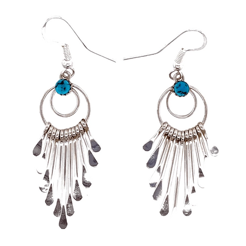 Image of Native American Earrings - Navajo Chandelier Hook Earrings-Sterling Silver