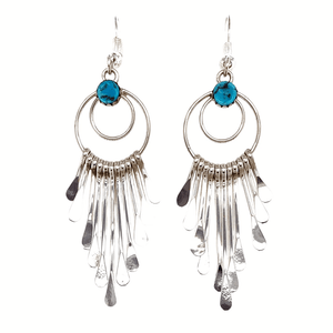 Native American Earrings - Navajo Chandelier Hook Earrings-Sterling Silver