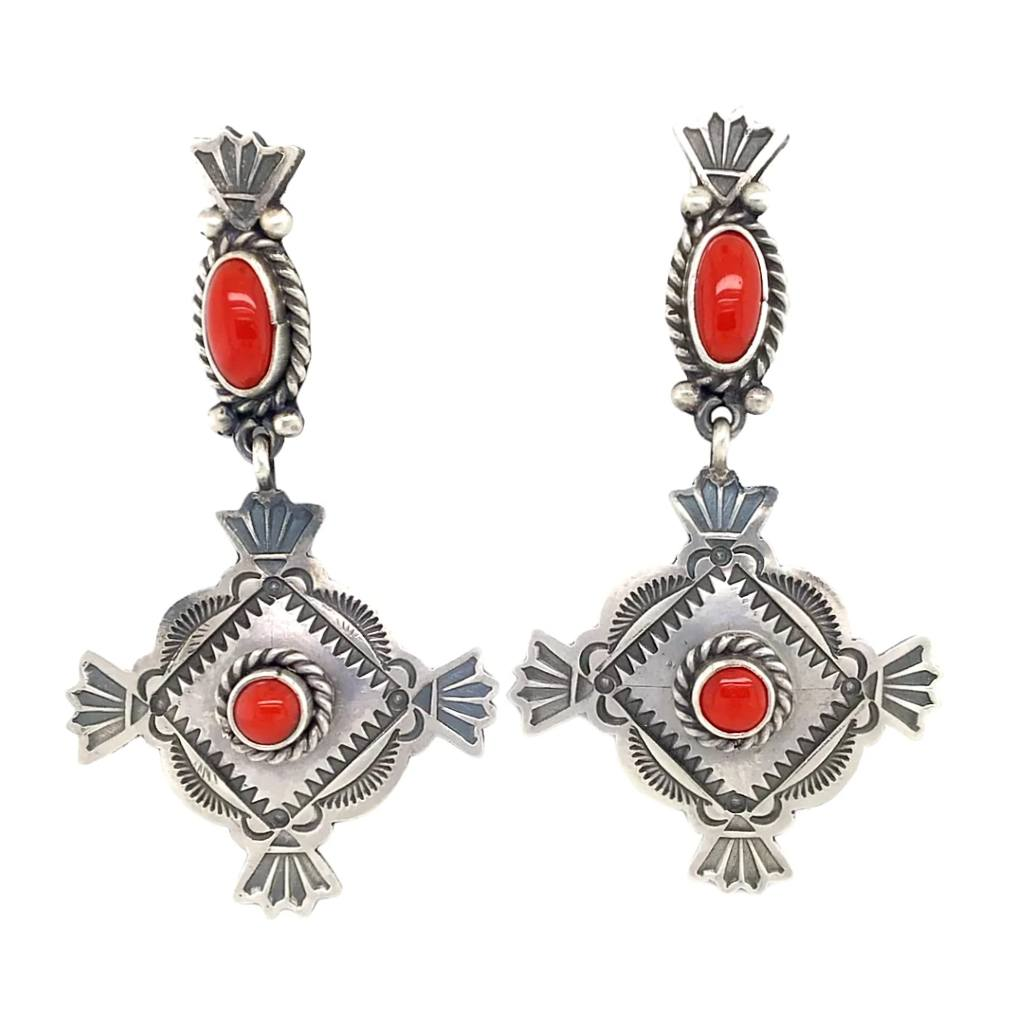 Native American Earrings - Navajo Coral Oxidized Sterling Dangle Earrings - Mike Calladitto
