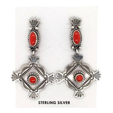 Image of Native American Earrings - Navajo Coral Oxidized Sterling Dangle Earrings - Mike Calladitto