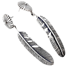 Load image into Gallery viewer, Native American Earrings - Navajo Daisy Feather Sterling Silver Earrings