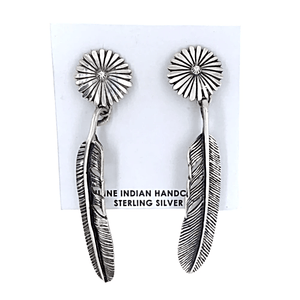 Native American Earrings - Navajo Daisy Feather Sterling Silver Earrings