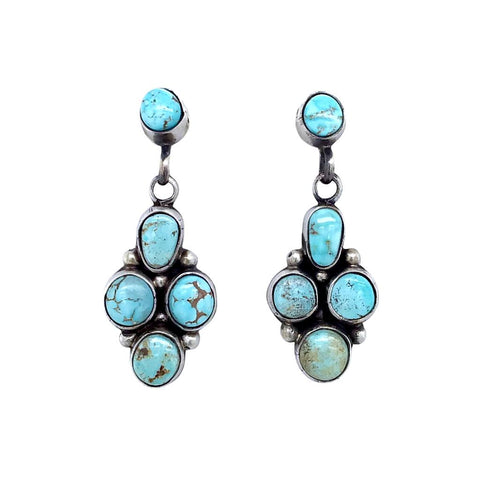 Native American Earrings - Navajo Dry Creek Turquoise Cluster Dangle Post Earrings -Eleanor Largo - Native American