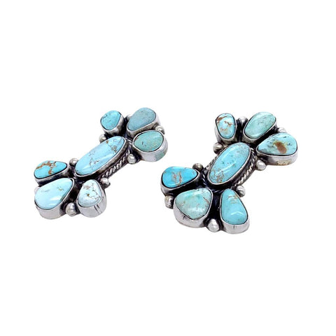 Image of Native American Earrings - Navajo Dry Creek Turquoise Cluster Design Post Earrings -Eleanor Largo - Native American