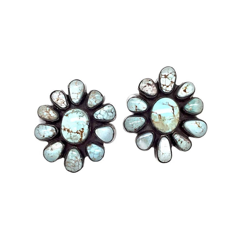 Native American Earrings - Navajo Dry Creek Turquoise Cluster Stud Earrings -Anthony Skeet - Native American