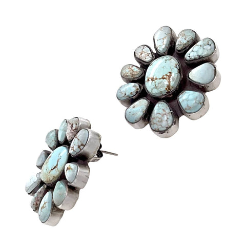 Image of Native American Earrings - Navajo Dry Creek Turquoise Cluster Stud Earrings -Anthony Skeet - Native American