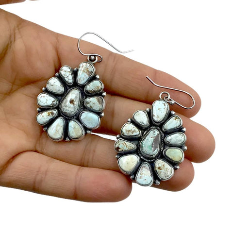Native American Earrings - Navajo Dry Creek Turquoise Clusters Dangle French Hook Earrings -Anthony Skeet - Native American