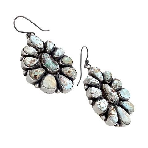 Image of Native American Earrings - Navajo Dry Creek Turquoise Clusters Dangle French Hook Earrings -Anthony Skeet - Native American