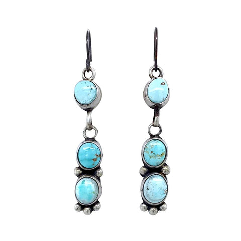 Image of Native American Earrings - Navajo Dry Creek Turquoise Dangle French Hook E.arrings -Eleanor Largo - Native American