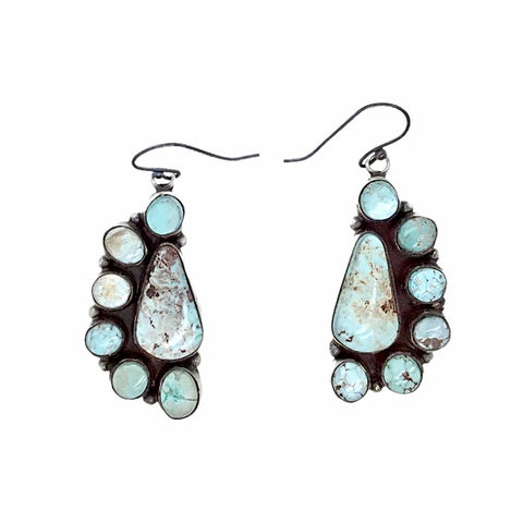 Native American Earrings - Navajo Dry Creek Turquoise Half Cluster Dangle French Hook Earrings -Anthony Skeet - Native American