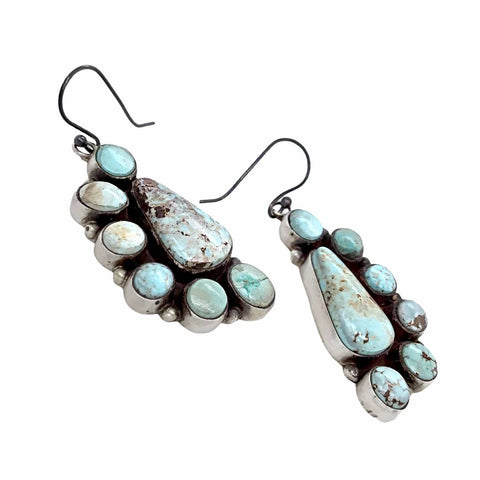 Image of Native American Earrings - Navajo Dry Creek Turquoise Half Cluster Dangle French Hook Earrings -Anthony Skeet - Native American