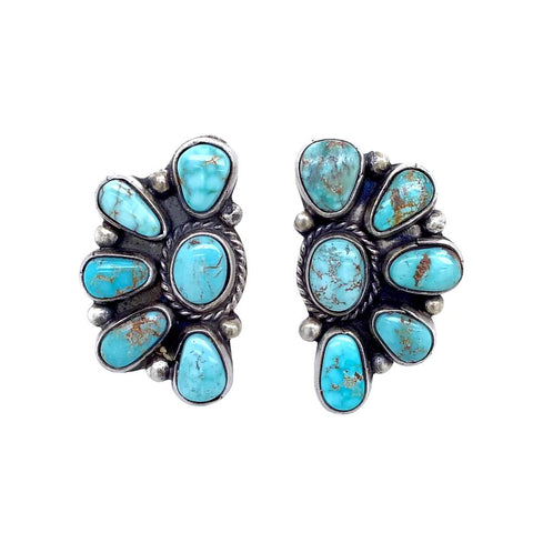 Native American Earrings - Navajo Dry Creek Turquoise Half Cluster Design Post Earrings -Eleanor Largo - Native American