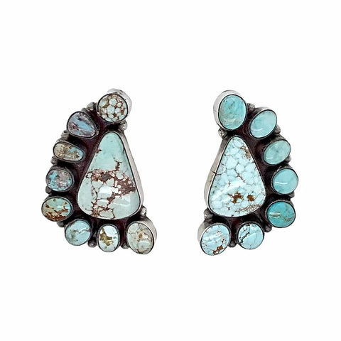 Native American Earrings - Navajo Dry Creek Turquoise Half Cluster Triangle Post Earrings -Anthony Skeet - Native American