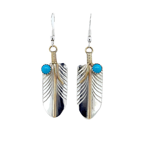Image of Native American Earrings - Navajo Feather 12K Gold Fill & Sterling Silver Turquoise (Medium Size) Dangle Earrings - Melvin Vandever - Native American