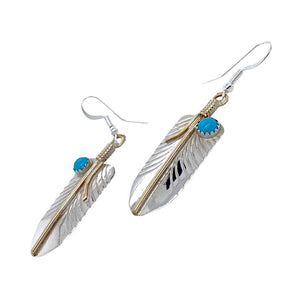 Native American Earrings - Navajo Feather 12K Gold Fill & Sterling Silver Turquoise (Medium Size) Dangle Earrings - Melvin Vandever - Native American