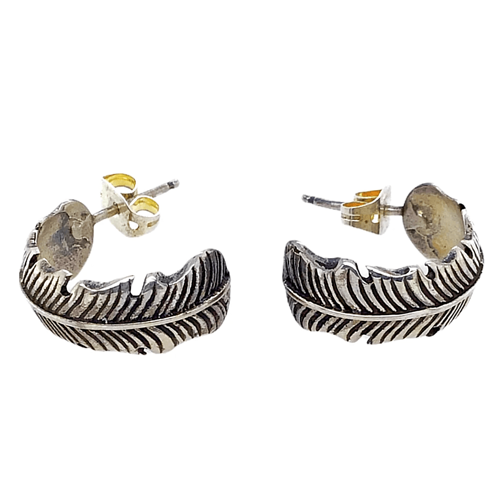 Native American Earrings - Navajo Feather Hoop Earrings