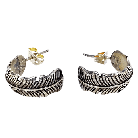 Image of Native American Earrings - Navajo Feather Hoop Earrings