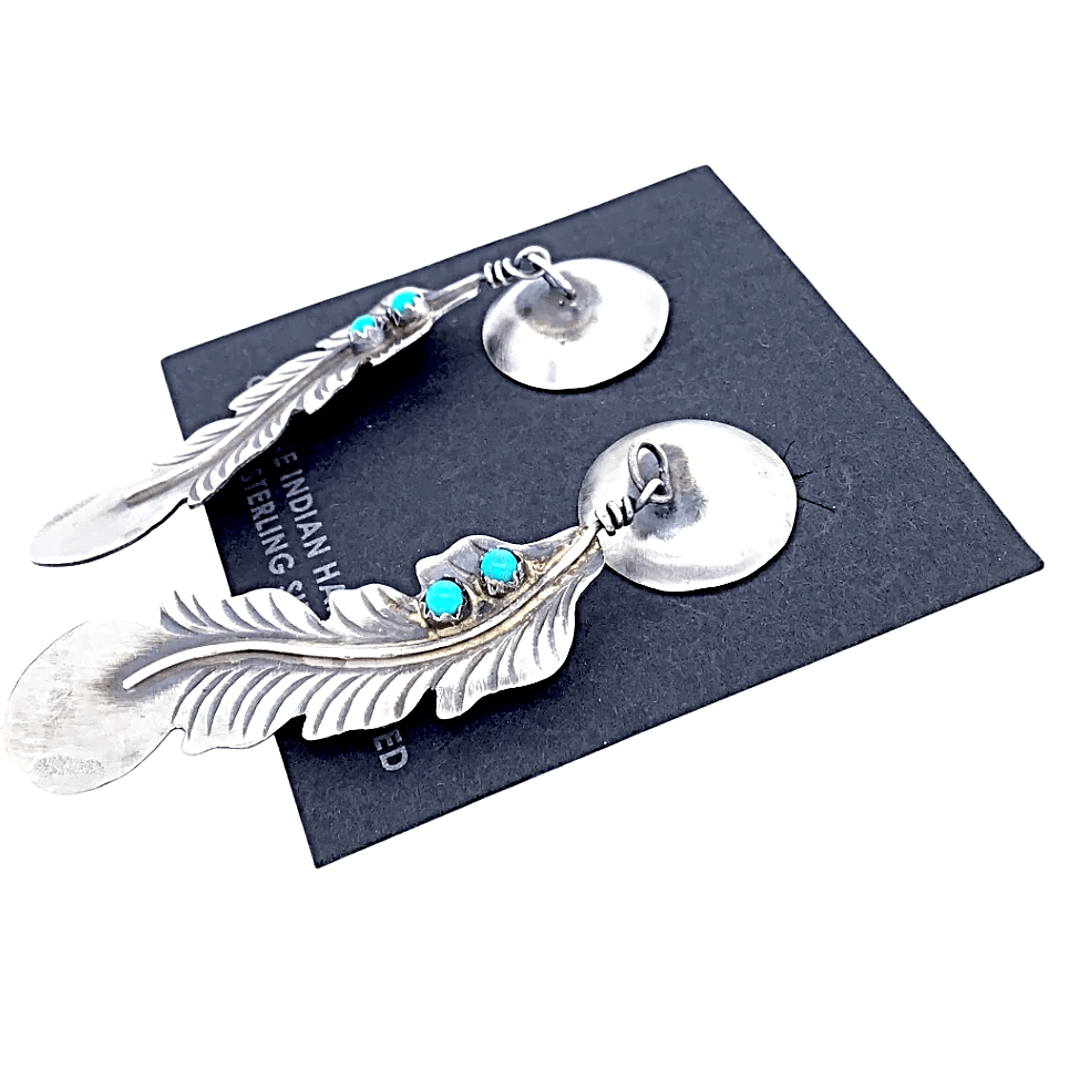 Native American Earrings - Navajo Feather Sterling Silver  Turquoise Earrings