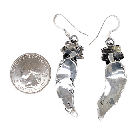Image of Native American Earrings - Navajo Feathers And Flowers Sterling Silver Earrings