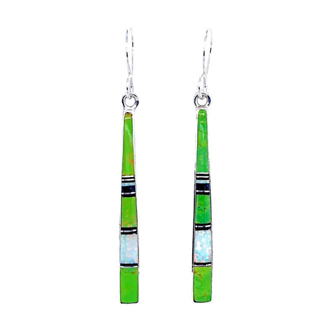 Image of Native American Earrings - Navajo Gaspeite, Created Opal, & Jet Inlay Earrings - Rick Tolino - Native American