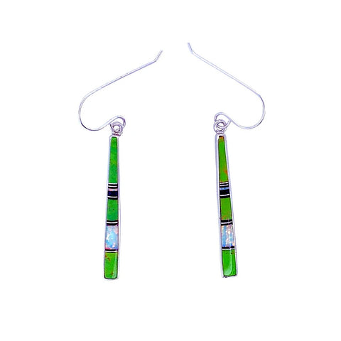 Native American Earrings - Navajo Gaspeite, Created Opal, & Jet Inlay Earrings - Rick Tolino - Native American