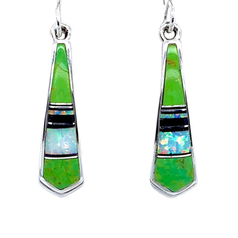 Image of Native American Earrings - Navajo Gaspeite, Created Opal, & Jet Inlay Pointed Earrings - Rick Tolino - Native American