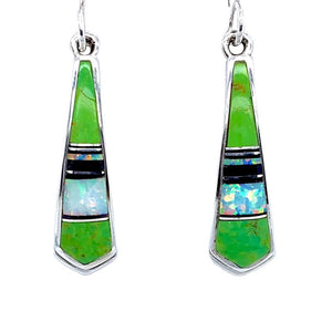 Native American Earrings - Navajo Gaspeite, Created Opal, & Jet Inlay Pointed Earrings - Rick Tolino - Native American