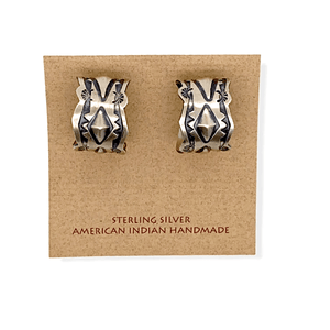 Native American Earrings - Navajo Hand-Stamped Sterling Silver Hoops