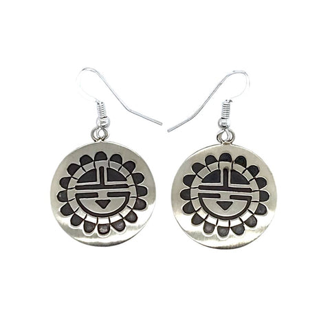 Native American Earrings - Navajo Kachina Stamped Sterling Silver Earrings - Stanley Gene - Native American