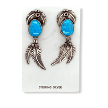 Load image into Gallery viewer, Native American Earrings - Navajo Kingman Turquoise  Feather Earrings