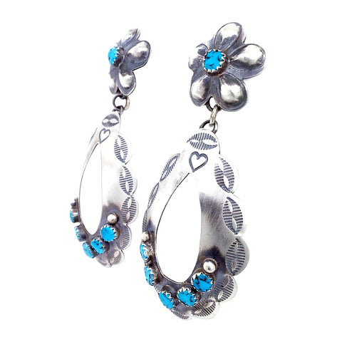 Native American Earrings - Navajo Kingman Turquoise Oxidized Sterling Silver Flower Post Earrings - Thomas Yazzie - Native American