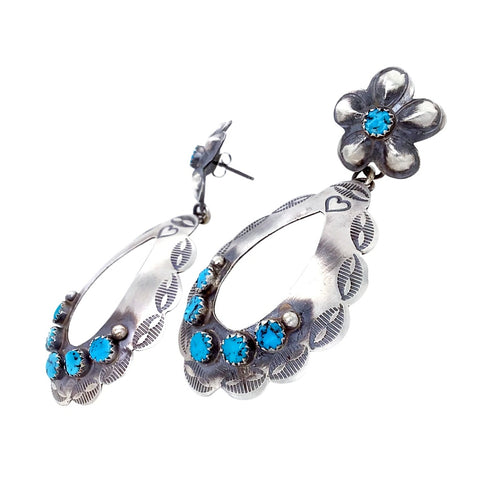 Image of Native American Earrings - Navajo Kingman Turquoise Oxidized Sterling Silver Flower Post Earrings - Thomas Yazzie - Native American