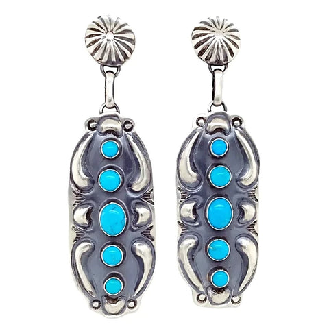 Native American Earrings - Navajo Kingman Turquoise Oxidized Sterling Stud Earrings - Jeff James