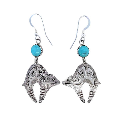 Native American Earrings - Navajo Kingman Turquoise Sterling Silver Bear Dangle Earrings - T. Hasteen - Native American