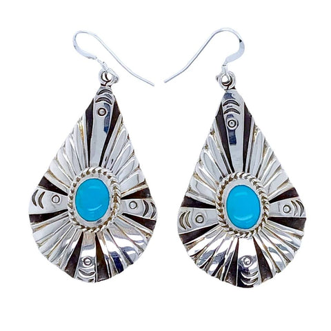 Native American Earrings - Navajo Kingman Turquoise Sterling Silver Teardrop Dangle Earrings