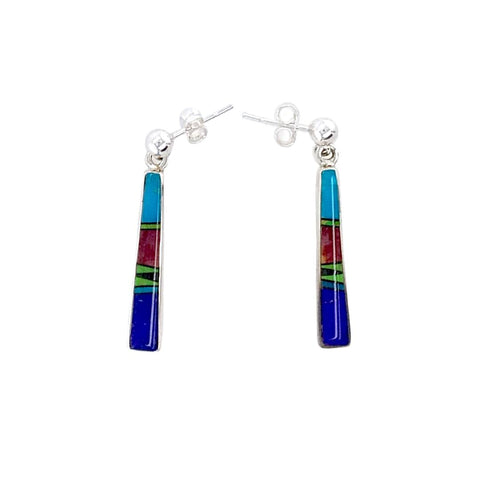 Native American Earrings - Navajo Lapis Muli-Stone Inlay Post Dangle Earrings - Rick Tolino - Native American