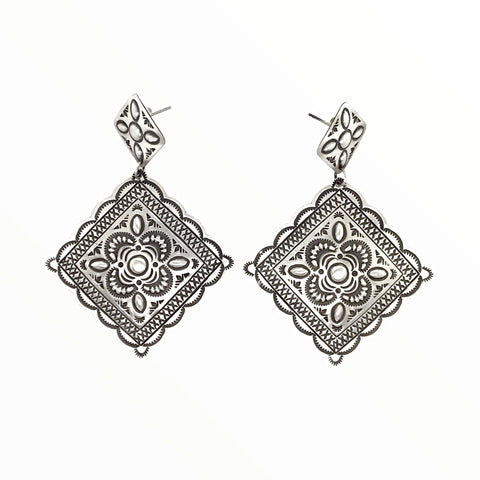 Image of Native American Earrings - Navajo Large Old Style Stamped Sterling Silver Dangle Earrings - Harris Joe - Native American