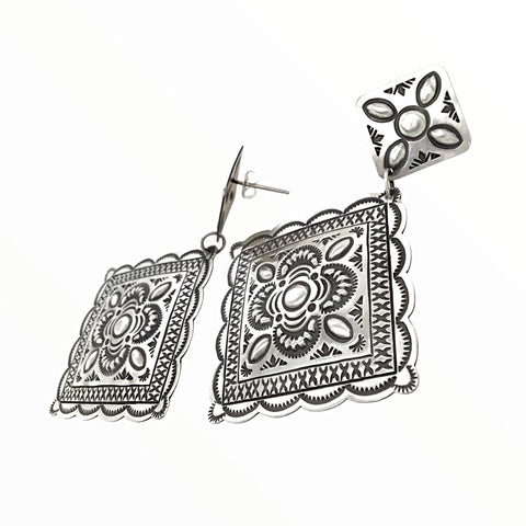 Native American Earrings - Navajo Large Old Style Stamped Sterling Silver Dangle Earrings - Harris Joe - Native American