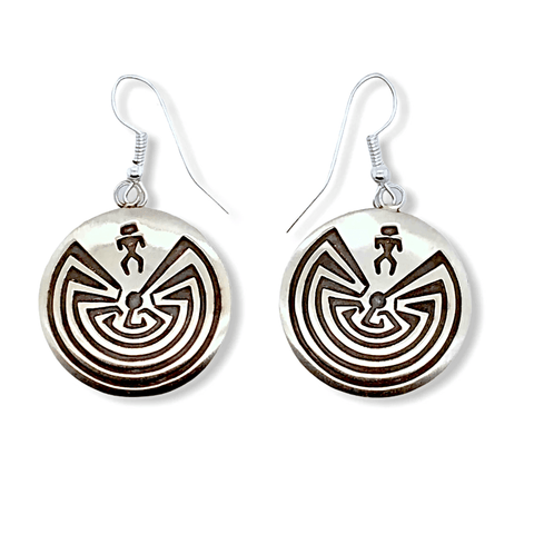 Image of Native American Earrings - Navajo Man In The Maze Earrings - Stanley Gene