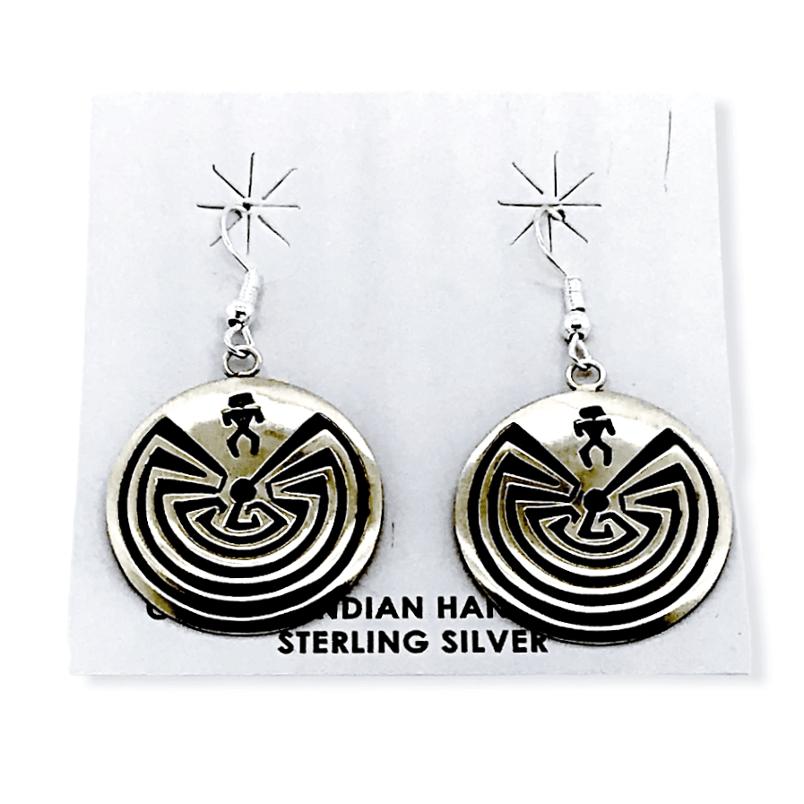 Native American Earrings - Navajo Man In The Maze Earrings - Stanley Gene