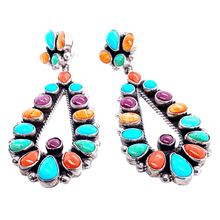 Load image into Gallery viewer, Native American Earrings - Navajo Multistone Teardrop Empress Post Earrings