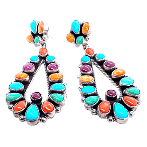 Native American Earrings - Navajo Multistone Teardrop Empress Post Earrings