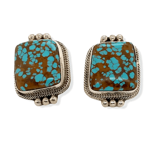 Native American Earrings - Navajo Number 8 Turquoise Earrings -Sheila Becenti