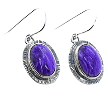Load image into Gallery viewer, Native American Earrings - Navajo Purple Charolite Oval Earrings