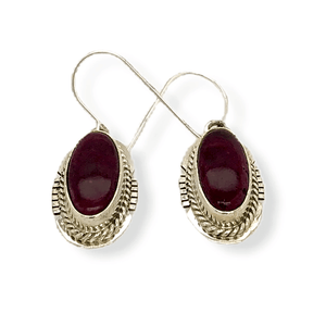 Native American Earrings - Navajo Purple Spiny Oyster Hook Earrings