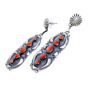 Native American Earrings - Navajo Red Spiny Oyster Oxidized Sterling Silver Post Earrings - Jeff James - Native American