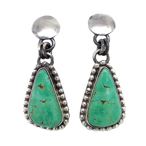 Image of Native American Earrings - Navajo Royston Turquoise Sterling Silver Dangle Earrings- Sheila Becenti