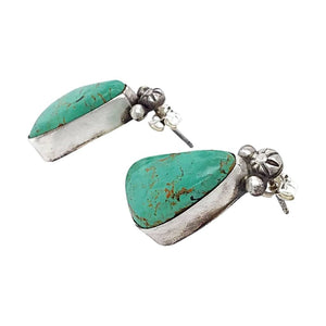 Native American Earrings - Navajo Royston Turquoise Sterling Silver Post Earrings- Randy Billy