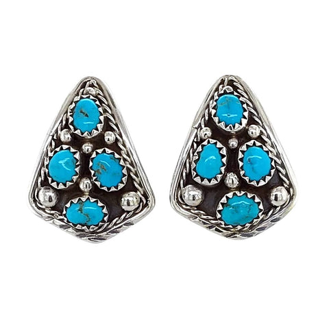 Image of Native American Earrings - Navajo Sleeping Beauty Turquoise Cluster Sterling Silver Post Earrings- M. Chee